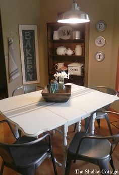 The Shabby Cottage Home: Grain Sack Drop Leaf Table
