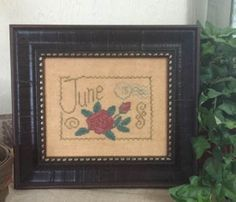 June Floral Postcard is the title of this cross stitch pattern from the floral postcard series by From The Heart.