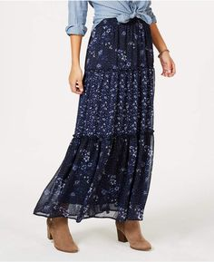 Style & Co Petite Printed Tiered Maxi Skirt, Created for Macy's - Blue P/XL Skirt Outfits Modest, Modest Skirts, Long Maxi Skirts, Printed Maxi Skirts, Ladies Dress Design, Dresses, Style, 3, Euro