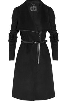 Sophie-B leather-trimmed wool-blend coat by Mackage #style