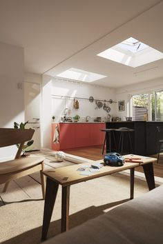 The skylights or velux windows completely change the look and feel of this kitchen extension. The open plan kitchen diner is transformed and filled with daylight from the windows. Single Storey Extension, Rear Extension, Open Plan Kitchen Diner, New House Plans, Open Plan Living, Living Room Kitchen, Skylight, Interior Design Kitchen, Interior Architecture