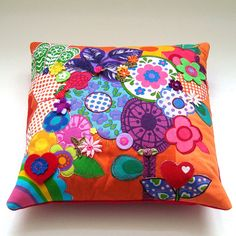 Bright Applique Art Pillow / Cushion Cover  by madebylisajane, £37.50