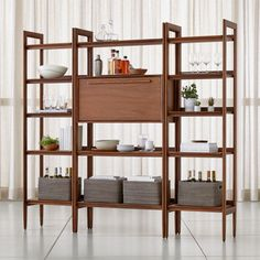Sale ends soon. Shop Tate Bookcase Bar with 2 Bookcases. Our popular Tate collection brings its cool, vibe into the office, family room or library as a modular storage solution with style to spare. Bookcase Bar, Wide Bookcase, Walnut Bookcase, Bookcases, Modular Shelving, Modular Storage, Adjustable Shelving, Bar Interior, Coaster Furniture