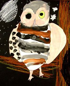 painted owl...paint, crayon & paper combined