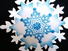 Large Layered Snowflakes embellishments gift tags by Wcards, $6.00