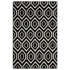 Black & Ivory Hexagon Wool Rug