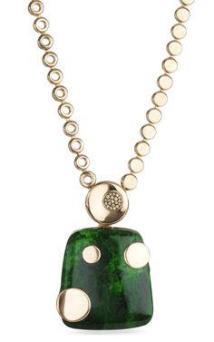 Green Jade & Diamond Pendant Necklace by Bochic - Moda Operandi