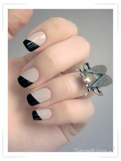 nude and black nail polish, nail art, nail trends