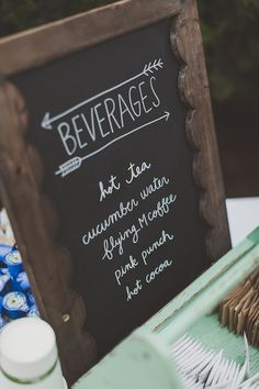 Sign for the non-alcoholic beverage table. Use chalkboard signs for bar & drink