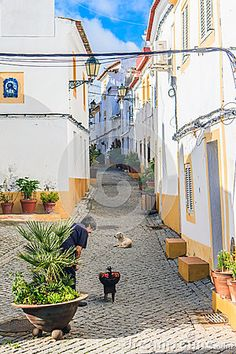 A narrow street with a gate and a turret in the old fortified town of Elvas. Peppers on the grill for lunch.
