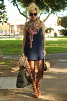 love how easy this style is...simple dress, great printed scarf, and super cute floppy hat!