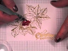 I really enjoyed this .Non-dimensional Christmas Card Tutorial Christmas Poinsettia, Christmas Cards To Make, Xmas Cards, Handmade Christmas, Holiday Gift Tags, Card Tutorials, Winter Cards, Card Tags, Christmas Inspiration