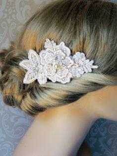Wedding Hair Accessories, wedding ivory hair comb, Champagne hair accessories, pearl hair clip $49.95 by Svitlanas Bridal Veils