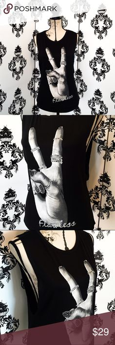 "🍀 NWT! Glitter Flawless peace sign tank! ✌🏻️ This tank is so super stylish and cool with the silver glitter on the nails and the rings of this hand giving the peace sign, at the bottom it has the word ""Flawless"" written in silver glitter cursive as well. It's a light, soft material, perfect for summer! Brand new! Smoke free home. Tops Tank Tops"