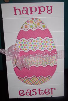 Easter Slat Sign with pieced Easter egg by createexpectations, $29.99