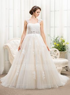 Ball-Gown Sweetheart Chapel Train Tulle Wedding Dress With Beading Appliques Lace Sequins (002056241) - JJsHouse