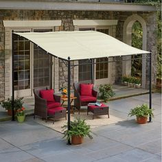 Create a shady haven outdoors while preventing the harsh sunlight from heating up your indoors or fading furniture near .Buy Now, Pay Later with Wards Credit! Sunshade Awning Gazebo, Deck Awnings, Porch Awning, Diy Awning, Outdoor Awnings, Porch Gazebo, Backyard Gazebo, Backyard Shade, Patio Shade