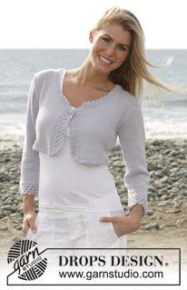 "DROPS 101-11 - DROPS short cardigan with crochet borders in ""Alpaca"".  - Free pattern by DROPS Design"