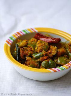 Capsicum Senagapindi Kura Recipe ~ Andhra Style Capsicum Besan Stir Fry | Indian Cuisine