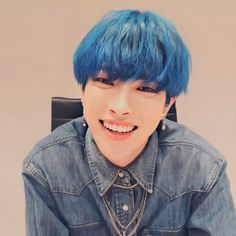 Hair Icon, Idole, Fandom, Doja Cat, Kim Hongjoong, Blue Aesthetic, Cute Icons, One Team, Blue Hair
