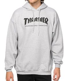 Skate in iconic style with as black Thrasher Skateboard Magazine logo graphic on the chest of a grey colorway and a soft fleece lining for comfort.
