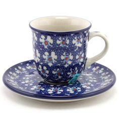 $21.49 Espresso Cup with Saucer 2.7 oz (80 ml) #142 | Slavica Polish Pottery