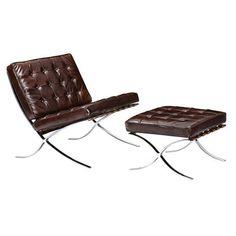 Nye Koncept 225543-A Aged Cognac Mies Chair And Ottoman