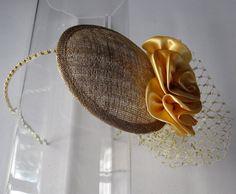 Gold Satin Flower Sinamay Fascinator Hat with por HettieSilovitz, $70.00