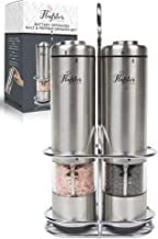 Battery Operated Salt and Pepper Grinder Set - Electric Stainless Steel Salt&Pepper Mills(2) by Flafster Kitchen -Tall Power Shakers with Stand - Ceramic Grinders with lights and Adjustable Coarseness salt and paper grinder#salt and paper set Olive Oil Jar, Olive Oil Bottles, Salt And Pepper Mills, Salt And Pepper Grinders, Olive Oil Container, Electric Pepper Grinder, Oil And Vinegar Dispensers, Olive Oil Sprayer, Kitchen Electronics