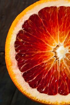 Blood orange, also called red orange, is a citrus fruit, owned by oranges family, but it is red in color. Health benefits of blood oranges may include L'art Du Fruit, Fruit Art, Fruit And Veg, Fruits And Vegetables, Fruit Salad, Fruit Photography, Macro Photography, Colour Photography, Close Up Photography