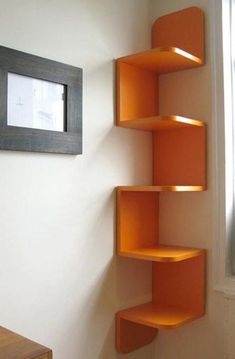 9 Victorious Simple Ideas: Floating Shelves Different Sizes Small Spaces floating shelves diy easy.Floating Shelves Closet Bookcases floating shelves above couch interior design. Wood Corner Shelves, Wall Shelves Design, Wall Shelving, Corner Bookshelves, Book Shelves, Creative Bookshelves, Corner Storage, Bookshelf Design, Book Storage