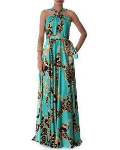$449 Vestido longo estampado decote com nó - Vestidoteca