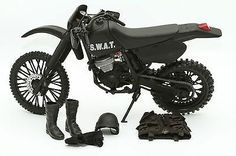 G.I. Joe Military Off Road Black Swat Motorcycle and Accessories