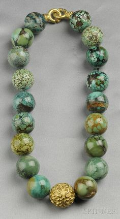 """$3,800.00. 18kt Gold and Turquoise Bead """"Laura"""" Necklace, Katy Briscoe"""
