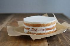 Layer cake with passion fruit-cheesecake filling.