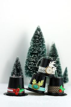 Recycled K-Cup Snowman Hat Ornaments