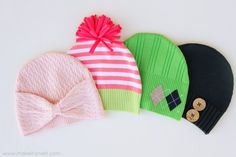 Cutest hats ever! made from old sweaters..