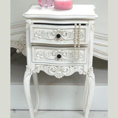 Classical White 2 Drawer Bedside Table   Sweetpea and Willow