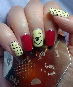 Winnie the poo nail art