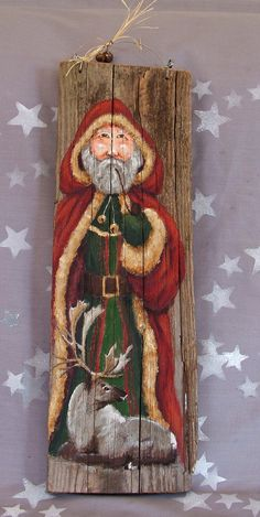 Father Christmas authentic barnwood hand painted 18 by SuzysSantas