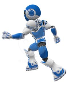 3d Render Fast Robot Running with Motion Blur Stock Image