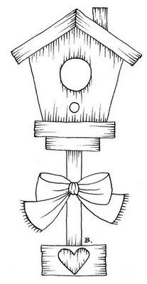 Birdhouse With Heart and Bow.   Sketch design, then paint in watercolor..... add ink for details.