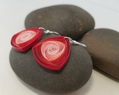 Red vortex earrings/ Red quilling earrings/ Red paper earrings/ Quilling jewelry/ Paper Jewelry/ Best gift for her/ Light weight earrings