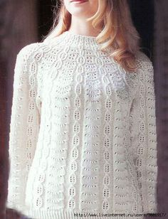 Very beautiful jumper with a round yoke - DIY, ideas fo creativity - DIY Ideas Sweater Knitting Patterns, Lace Knitting, Knitting Designs, Knit Patterns, Knit Crochet, Knit Cardigan Pattern, Crochet Clothes, Sweaters, Google