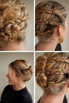 two braids on one side, twist on other. three buns. Awesome updo.