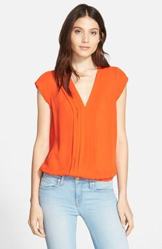 (Pardise Red) Joie 'Marcher' Pleated Silk Top available at #Nordstrom $188