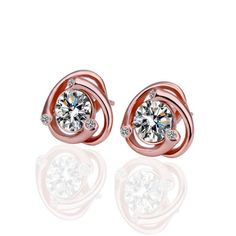 Buy Cara Rose Gold Here and There pure silver earrings for womenRs2599|Foonty.com