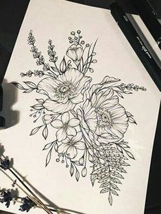 I love adding a poppy or two to my bouquet on my thigh … – floral tattoo sleeve Tattoo Sketches, Tattoo Drawings, Body Art Tattoos, Sleeve Tattoos, Tatoos, Mehndi, Flower Tattoo Designs, Flower Tattoos, Flower Outline Tattoo