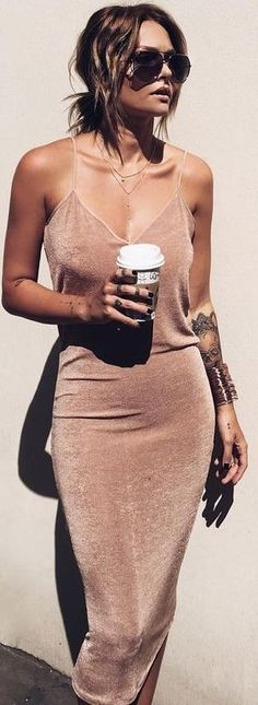 Coffe Slip Dress Source