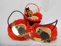 Halloween Nut Cups Vintage Crepe Paper Lot of 3 with Moon Owl and Cat